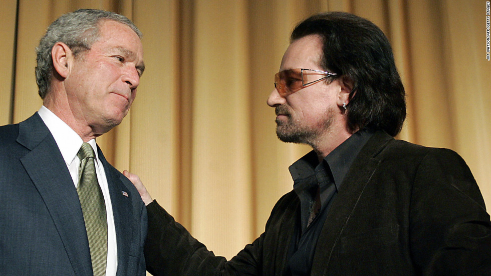 U2 frontman Bono, who was named the most politically effective celebrity of all time by the National Journal, has campaigned for third-world debt relief since 1999. In March 2002, he appeared next to President Bush for the unveiling of a $5 billion aid package for the world's poorest countries. The two also attended the National Prayer Breakfast in Washington in February 2006, seen here.