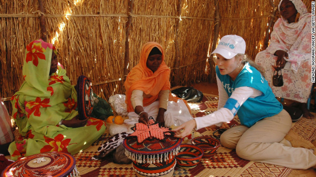 Actress Mia Farrow, a longtime advocate for child rights, traveled to Darfur in 2004 (seen here) and 2006 to advocate for the freedom of Darfuri refugees. Farrow later wrote an opinion piece for the Wall Street Journal that is widely credited with heightening awareness that eventually led to Sudan accepting a U.N. peacekeeping force.