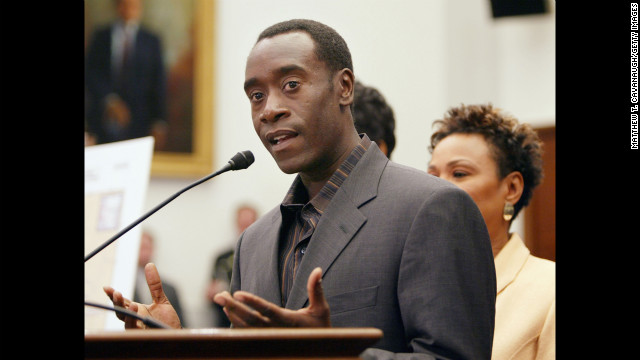 Actor Don Cheadle has been a prominent activist for the end of genocide in Darfur. Along with fellow actors like George Clooney and Brad Pitt, Cheadle helped co-found the Not On Our Watch Project, an organization focused on preventing mass atrocities. Cheadle was named U.N. Environment Program Goodwill Ambassador in 2010. Pictured, Cheadle speaks to members of Congress about the genocide, January 2005.