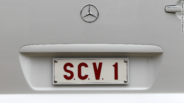 Pictured here is the detail of the Popemobile licence plate. According to the Vatican, the letters on the plate stand for 'status civitatis Vaticanae.' (September 14, 2010 in London)