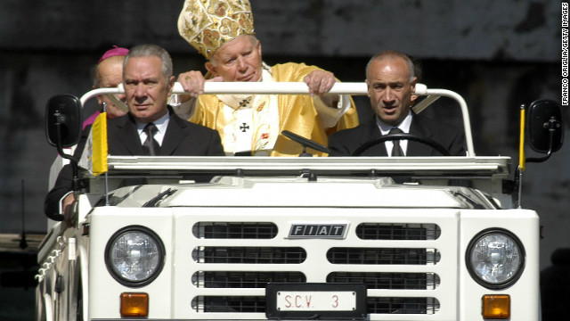 2003: Pope John Paul II arrives in St. Peter's Square in his custom-made Fiat Popemobile on May 18, 2003.