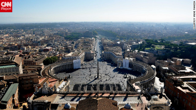 People gather at St. Peter's Square every day in Vatican City for Mass and ceremonies. &quot;The monuments and archaeological sites are always accessible, always ready for any type of tourist,&quot; says&lt;a href='http://ireport.cnn.com/docs/DOC-804650'&gt; Fanizza&lt;/a&gt;.