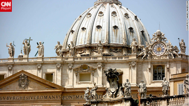 From the top of the majestic St. Peter's Basilica dome, visitors can enjoy the view of Saint Peter's Square. It towers 452 feet above the street. 