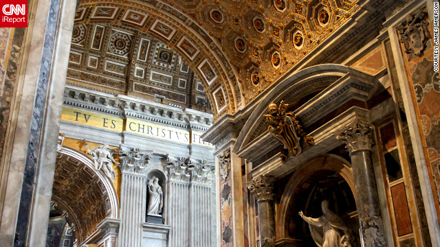 "St. Peter's Basilica draws tourists from across the world each day. ""What a history and ... importance to the world,"" <a href='http://ireport.cnn.com/docs/DOC-815380'>iReporter James Amerson</a> says."
