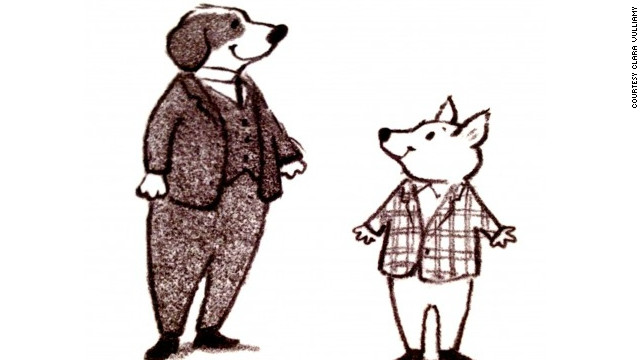 "An early character illustration of Dixie (left) and his sidekick Percy from the forthcoming book ""Dixie O'Day"" written by Shirley Hughes and illustrated by her daughter Clara Vulliamy. It is the first time Shirley Hughes has had her work illustrated by anyone other than herself."