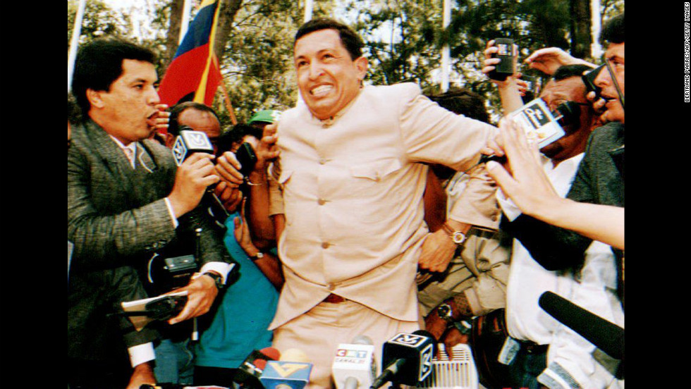 Army Lt. Col. Hugo Chavez, who led a 1992 attempted coup, speaks to reporters on March 26, 1994, after he was freed from jail. Chavez was freed after charges were dropped against him for leading the first of two attempted coups against the government of former President Carlos Andres Perez, who was later removed from office.
