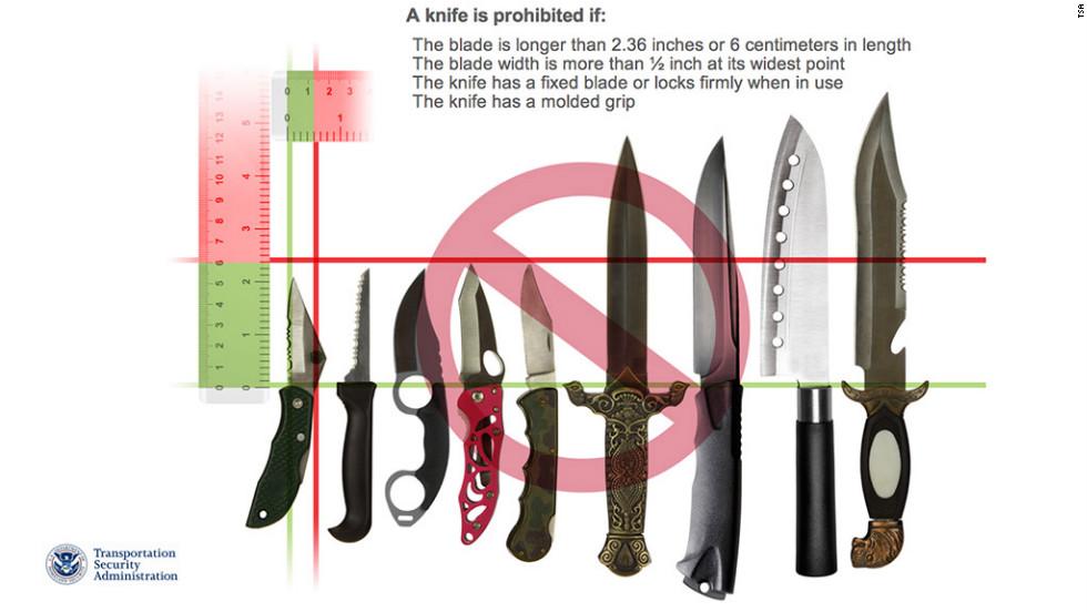 Cuchillos no permitidos por TSA