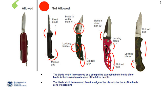Knives with locking blades will not be allowed under the new rules.
