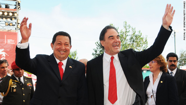 Director Oliver Stone and Chavez attend the &quot;South of the Border&quot; premiere during the 66th Venice Film Festival on September 7, 2009, in Venice, Italy.