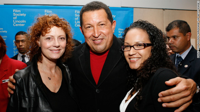 Actress Susan Sarandon poses for a picture with Chavez and his daughter, Rosa, at the afterparty of the &quot;South of the Border&quot; premiere in New York on September 23, 2009.