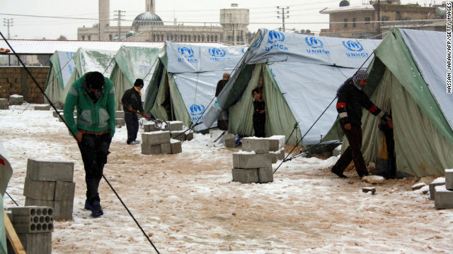 The U.N. High Commissioner for Refugees supplied tents in Al-Marj, in the eastern Lebanese Bekaa Valley. Some families have endured frigid weather in tent camps or struggle to pay for shelter.