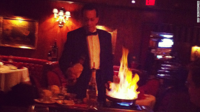 A waiter at The Golden Steer steakhouse fires up a tableside pan of bananas Foster. The restaurant has served Rat Pack regulars and tourists alike since it opened in 1958.