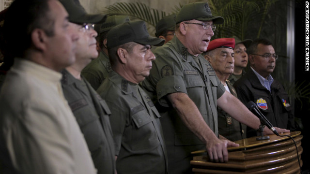 Venezuelan Defense Minister Diego Molero speaks in Caracas on March 5. He said that the Venezuelan people must fight for Chavez's legacy.