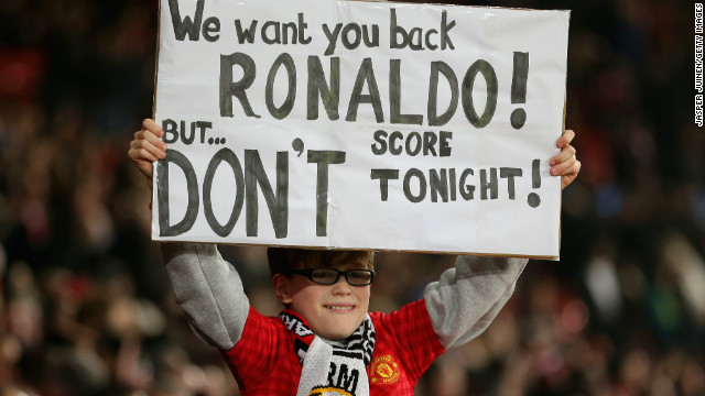 A young fan sums up the mood at Old Trafford as former favorite Ronaldo returns to Old Trafford.