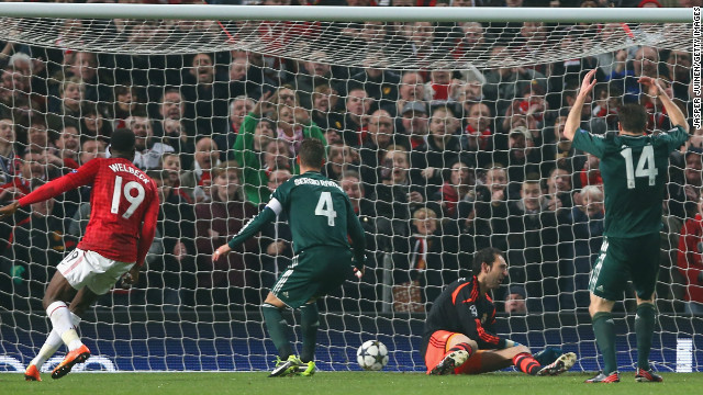 Danny Welbeck's effort is deflected past Diego Lopez by Sergio Ramos as United went 1-0 ahead on the night.