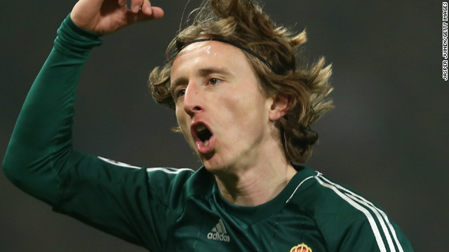 Luka Modric celebrates his stunning equalizer for Real Madrid after coming on as a second half substitute.