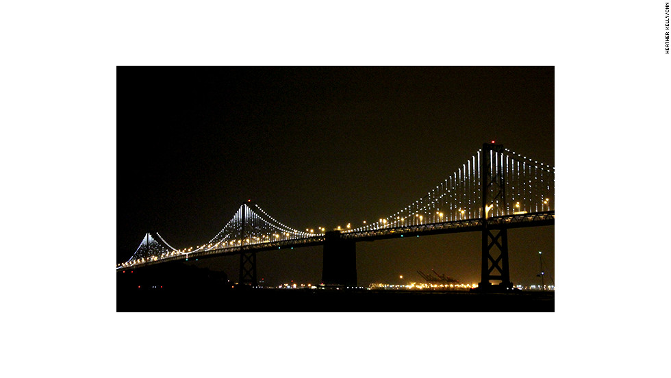 The San Francisco Bay Bridge shows off its new kinetic lighting installation.