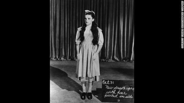 A full wardrobe and hair test shot for Judy Garland as Dorothy Gale. 