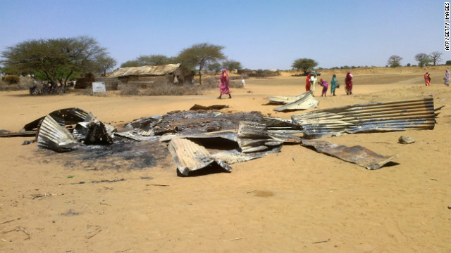 There has been a recent upsurge in state-sponsored violence there, according to the U.N. Pictured, the remains of a house in Derib al Reih village, South Darfur, that was reportedly destroyed by the Sudanese air force in February 22, 2013.