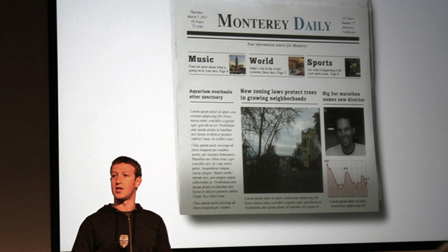 Mark Zuckerberg compared the updated news feed and its categories to the sections of local newspapers.