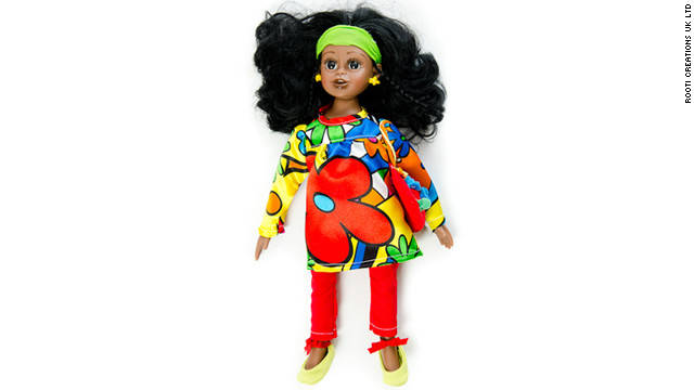 Rooti Dolls has introduced a range of talking dolls aimed at helping African children stay in touch with their heritage. Pictured is Ama -- a &quot;bubbling dynamic girl&quot; whose &quot;dream is to be a doctor someday,&quot; says the company's website. Ama speaks the Ghanaian languages of Twi, Ga, Ewe and Krobo.