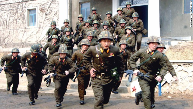 Soldiers in the North Korean army train at an undisclosed location on Wednesday, March 6.