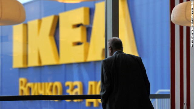 (Illustration photo) A man looks through a window of an Ikea store.