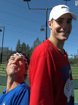 "Isner's main weapon is his powerful serve helped by his towering height of 6ft 9ins, aptly demonstrated here by CNN Open Court host Pat Cash. To date he has won five singles titles on the ATP Tour but he's hoping success in some of the major tournaments will eclipse the ""marathon match"" that he's best known for."