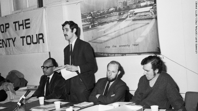 "In opposition to the apartheid politics of South Africa, this group of cricketers formed the ""Stop the Seventy Tour,"" a committee set up to stop that year's tour of the South African cricket team to England. On the far right sits Peter Hain, leader of the Young Liberals and a future British MP."
