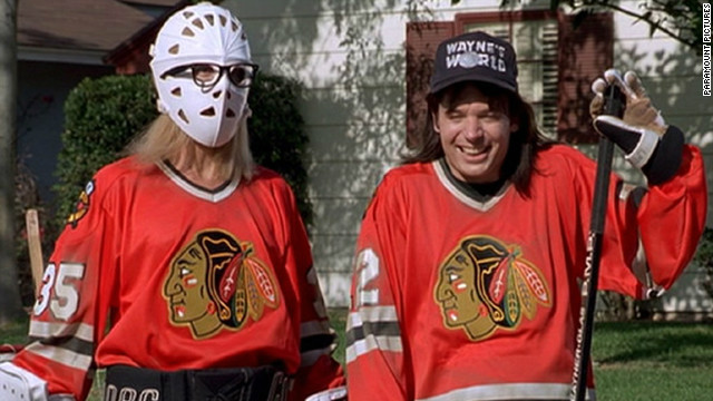 Garth (Dana Carvey) and Wayne (Mike Myers) wore Blackhawks jerseys while playing street hockey in the 1992 movie &quot;Wayne's World.&quot; Game on! 