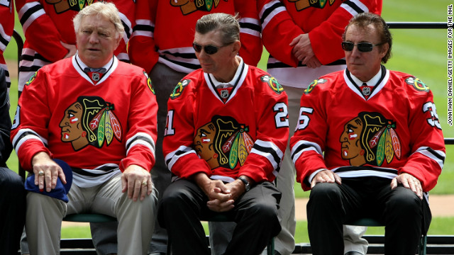 Hockey Hall of Famers Bobby Hull (from left), Stan Mikita and Tony Esposito all played for the Blackhawks.