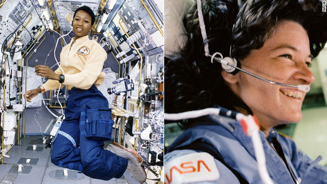American physician and NASA astronaut Mae Carol Jemison, left, became the first black woman to travel in space in 1992. As an astronaut, Jemison served as a liaison between the astronaut corps and launch operations at Kennedy Space Center, <a href='http://www.drmae.com/biography-3-563' target='_blank'>according to her biography</a>. She also flew aboard the Space Shuttle Endeavour in the first joint mission with the Japanese Space Agency. Fellow astronaut Sally Ride, right, helped pave the way for Jemison's career: In 1983, she flew to space aboard the Space Shuttle Challenger, becoming the first American woman (and, at 32, the youngest American) to enter space. She flew on Challenger again in 1984 and later was the only person to serve on both panels that investigated the nation's space shuttle disasters in 1986 and 2003. Ride<a href='http://www.cnn.com/2012/07/23/us/sally-ride-dead'> di