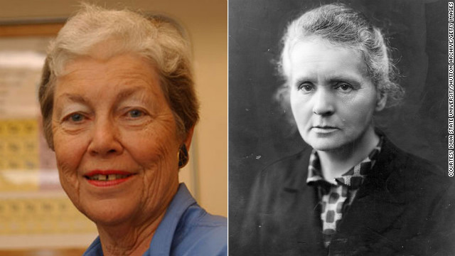 Nuclear chemist <a href='http://www.chemheritage.org/discover/online-resources/chemistry-in-history/themes/atomic-and-nuclear-structure/hoffman.aspx' target='_blank'>Darleane Hoffman</a>, , left, specializes in heavy elements like plutonium. She was part of a team that focused on confirming the discovery of Seaborgium, element 106. Her research has revealed new aspects of fission and atomic processes, and she was awarded the National Medal of Science in 1997. The discoveries of <a href='http://www.nobelprize.org/nobel_prizes/physics/laureates/1903/marie-curie-bio.html' target='_blank'>Marie Curie</a> (1867-1934) were similarly focused: Her observations of radiation suggested a relationship between radioactivity and the heavy elements of the periodic table. Curie's painstaking research with her husband, Pierre, culminated in the isolation of two new, heavy elements -- polonium, which they named for Marie's homeland, and the naturally glowing radium.