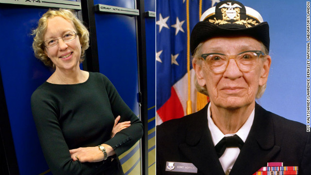 "Happy 107th Birthday, Grace Murray Hopper! The American computer scientist and U.S. Navy Rear Admiral (right) created Common Business-Oriented Language (COBOL.) She also coined the term ""debugging"" in reference to fixing a computer.<!-- --> </br><!-- --> </br>She paved the way for other females in computer science, including <a href='https://www.nersc.gov/news-publications/news/nersc-center-news/2007/prof-kathy-yelick-named-new-director-for-doe-s-national-energy-research-scientific-computing-center/' target='_blank'>Katherine Yelick</a>, left, a University of California, Berkeley, computer science professor, and director for the National Energy Research Scientific Computing Center -- a high-performance computing facility that helps scientists run tests. One of the computers in the facility is named after Hopper.<!-- --> </br><!-- --> </br>Click through the gallery for more women pioneers in science, technology, engineering and mathematics."