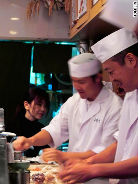 Join vendors and tuna auctioneers from the neighboring Tsukiji Fish Market queuing up at dawn for a post-shift sushi breakfast at this 13-seat spot. You won't find fresher toro in all of Tokyo. 81-3/3547-6797. $$$