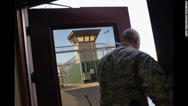 A U.S. military guard walks out of the maximum security section of the detention center in September 2010.