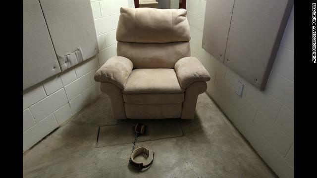 A seat and shackle await a detainee in the DVD room of the maximum security Camp 5 detention center in March 2010. 
