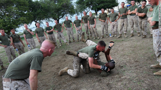 U.S. Marines join in martial arts training at the U.S. naval base in September 2010. 