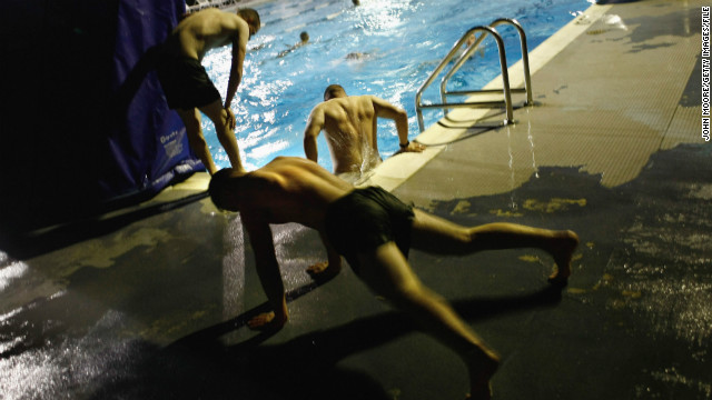 Marines get an early-morning workout at the U.S. naval base at Guantanamo Bay in October 2009.