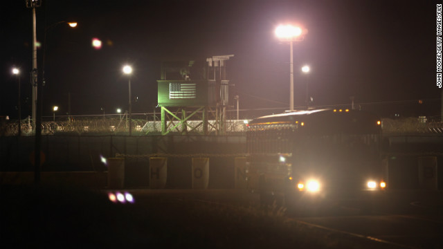 A bus carries military guards from their night shift at the detention center in September 2010.
