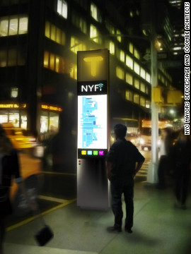 The &quot;NYfi&quot; phone box was designed by Sage and Coombe Architects and aims to serve as a hub for free wireless internet access as well as an interactive portal for public information, goods, and services.