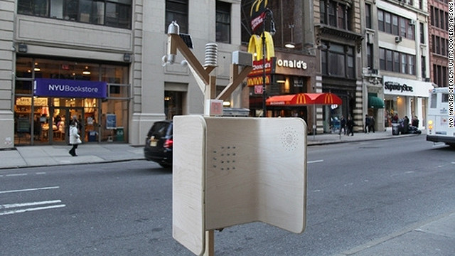 """Windchimes"" was designed by a collective of students and graduates from colleges in the New York area. The minimalist device comes equipped with environmental sensors which aim to collect important eco-information on the likes of rainfall and pollution levels in the city."