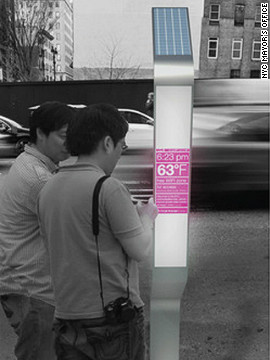 The sleek looking &quot;Smart Sidewalks&quot; phone booth is powered by a solar panel and enables users to view local maps and information on a futuristic touch-screen.