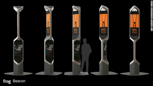 "The ""Beacon"" pay phone is a 12-foot-tall voice and gesture controlled kiosk that acts as a public information display system in times of emergency as well as a public phone."