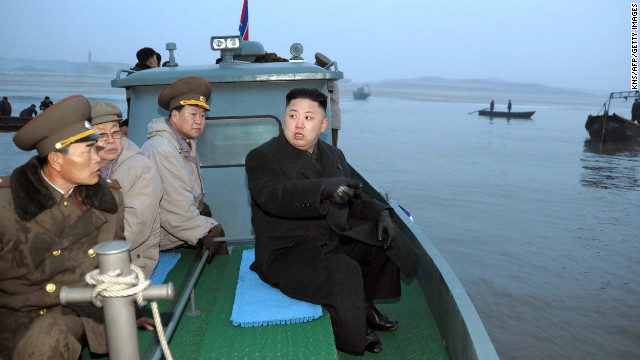 Kim arrives at Jangjae Islet by boat to meet with soldiers of the Jangjae Islet Defense Detachment on March 7.