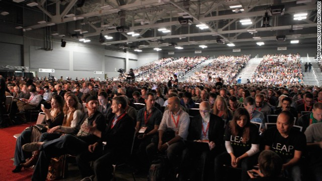 A capacity crowd fills the Austin Convention Center for the Elon Musk Keynote on March 9.