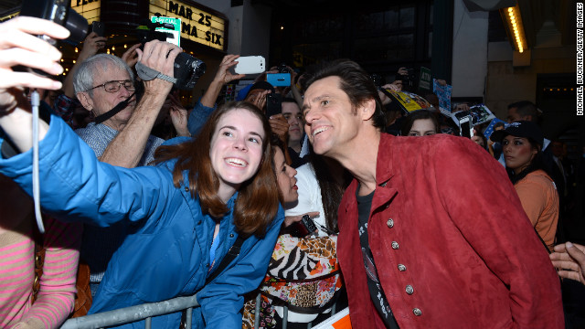 Actor Jim Carrey poses with a fan on March 8 before the SXSW screening of his film &quot;The Incredible Burt Wonderstone.&quot;