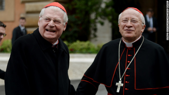 Italian Cardinals Angelo Scola (left) and Ennio Antonelli arrive for a pre-conclave meeting on Friday, March 8.