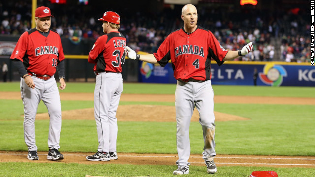 Pete Orr (right) of Canada reacts after players from Mexico and Canada brawled during the World Baseball Classic March 9.