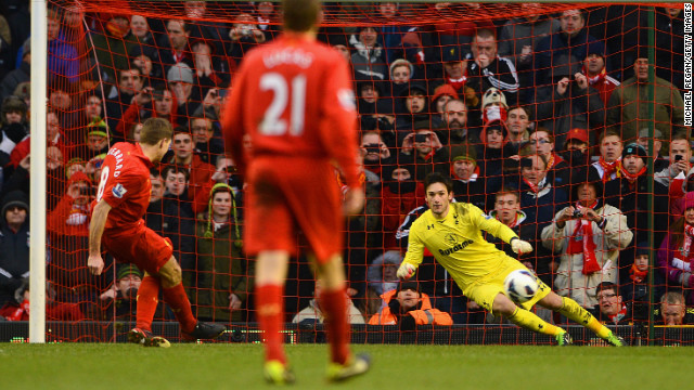 But Liverpool fought back to win 3-2 thanks to a strike from Stewart Downing and this Steven Gerrard penalty.